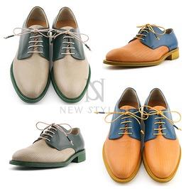Net Pattern Contrast Color Lace Up Shoes 309