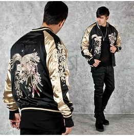 Both Sides Wearable Gold Contrast Sukajan Jacket 223
