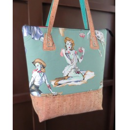 Zombie Pin Up Girls Green Extra Large Valley Tote With Cork Bottom And Strap