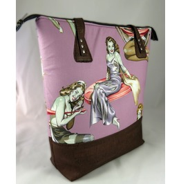 Zombie Pin Up Girls Pink Extra Large Valley Tote With Cork Bottom And Stra