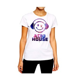 Acid House T Shirt Club Music Techno Party Smily Face Drip Cotton Tee
