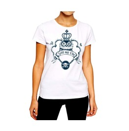 Tattoo T Shirt Owl Wearing Crown And Skull Chain Women Cotton Tee