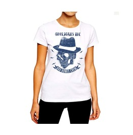 Tattoo T Shirt Skull Wearing A Hat Rancid Nation Women Cotton Tee