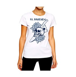 Tattoo T Shirt Skull And Blade El Bandido Women Cotton Tee