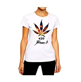 Weed T Shirt Just Blaze It Marijuana Cannabis Ganja Sensi Women Cotton Tee