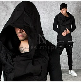 Big Hood Accent Black Turtle Neck Hoodie 106