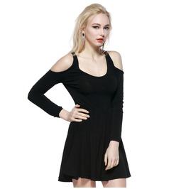 Off Shoulder Round Neck Black Dress