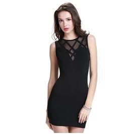Sleeveless Gauze Patchwork Bandage Black Dress