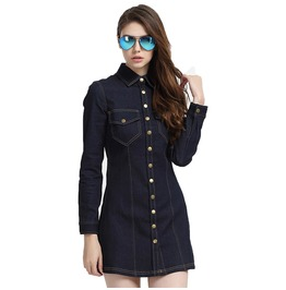 Retro Stand Collar Buttons Up Short Denim Dress