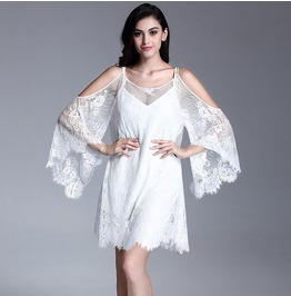 Sexy Off Shoulder Flared Lace Sleeves Short White Dress