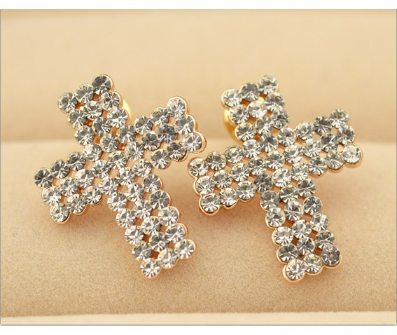 Punk Tiny Cross Bling Crystal Stud Earrings_Earrings_4.png