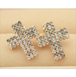 Punk Tiny Cross Bling Crystal Stud Earrings
