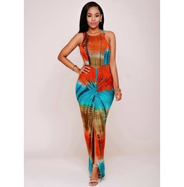 Vintage African Colorful Print Sleeveless Long Dress V3