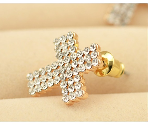 Punk Tiny Cross Bling Crystal Stud Earrings_Earrings_3.png