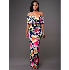 Vintage African Colorful Flower Print Off Shoulder Long Dress V4