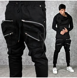 Full Front Cargo Pocket Accent Black Jogger Sweatpants 209