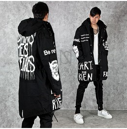 Unique White Lettering Accent Swallow Tail Black Long Hood Jacket 224