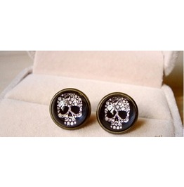Vintage Skull Head Stud Earrings