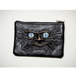 Black Real Leather Men Zippered Wallet Small Mini Coin Purse Monster Face