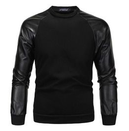 Mens faux leather sleeved stitching cotton sweatershirt hoodies and sweatshirts