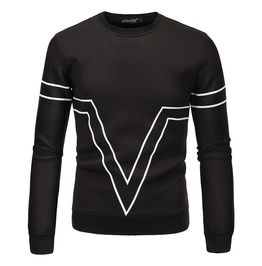 Mens printed crew neck black sweatershirt hoodies and sweatshirts
