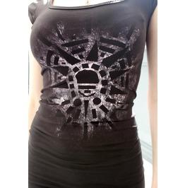Pretty Disturbia Black Grunge Hand Painted Body Con Unique Black Dress