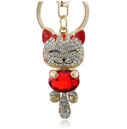 Lucky Smile Cat Crystal Key Rings Keychain Key Holder
