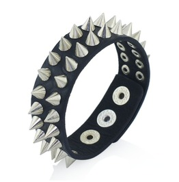 Spikes Rock Punk Rivets Spike Leather Wide Wristband Bracelet