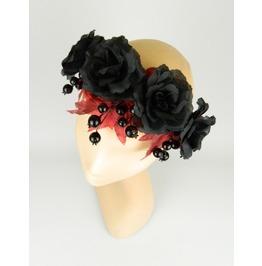 Flower Crown Garland Statement Headpiece With Black Roses, Berries, Leaves