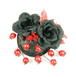 Fascinator Headpiece With Black Silk Flower Roses, Red Berries And Leaves