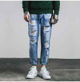 Men's Distressed Slim Fitted Clean Wash Jeans