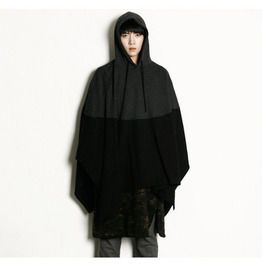Men's Loose Bat Sleeves Hooded Color Block Cloak Cape Coat