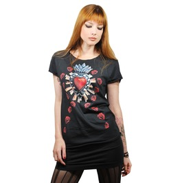 Sacred Heart Of The Virgin Intricate Milagros With Red Roses Black T Shirt