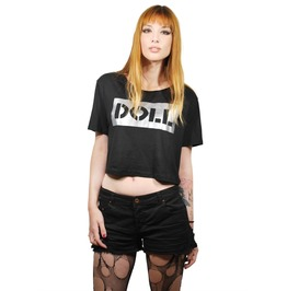 "Big Silver Slogan ""Doll"" Crop Top Tshirt"