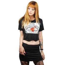 Ouija Board And Pizza Planchette Black Crop Top T Shirt