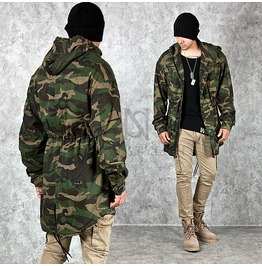 Round Hem Accent Classic Camouflage Military Hood Jacket 225