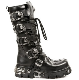 New Rock Shoes Black Leather Gothic Combat Boots