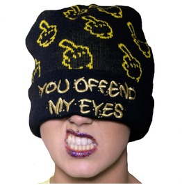 Up Yours Beanie By Offend My Eyes Clothing Black Gold Unisex Brand New
