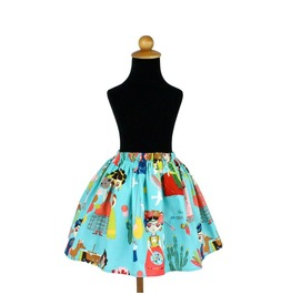 Frida Kahlo Esperanza Teal Girl's Skirt