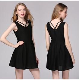 Black V Neck Sleeveless Corset Party Cotton Sundress A Line Mini Dress