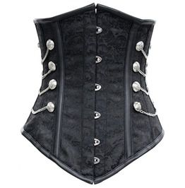 Women's Spiral Steel Boned Gothic Bustier Corset With Chains