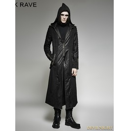 Black Gothic Heavy Punk Long Hooded Coat For Men