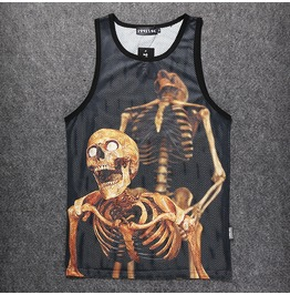 Personalized 3 D Skull Printed Sports Tank Tops