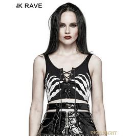 Black Gothic Punk Ghost Hand Printed Strapless Bra T 447 Bk
