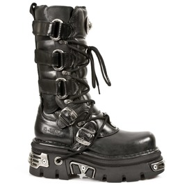 New Rock Shoes Black Leather Wider Calf Reactor Boots
