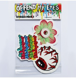 Pack Of 3 Vinyl Stickers Including Eyeball, Flower And Yome Offend My Eyes