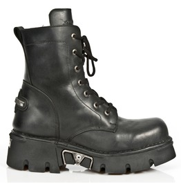 New Rock Shoes Unisex Black Leather Combat Boots With Heavy Soles