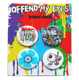 Pack Of 4 Pin Button Badges By Offend My Eyes Includes Drugs Weed Eyeballs