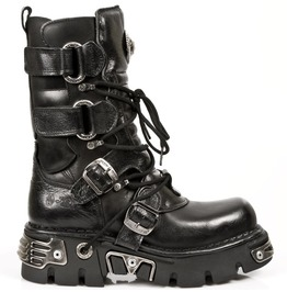 New Rock Shoes Black Velcro Reactor Combat Boots