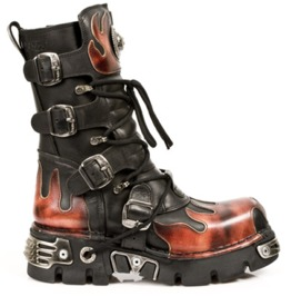 New Rock Shoes Classic New Rock Combat Boots With Flame Design